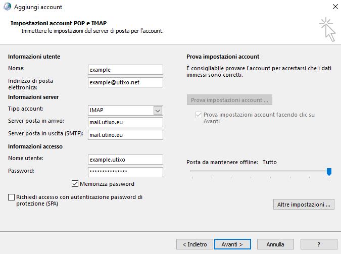 utixo exchange imap configurazione